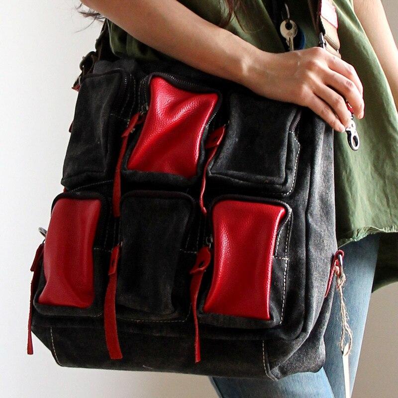 Bagaj ve Çantalar'ten Omuz Çantaları'de Çok cepli kadın büyük denim çanta rahat punk omuzdan askili çanta büyük kapasiteli postacı çantası MODA'da  Grup 1