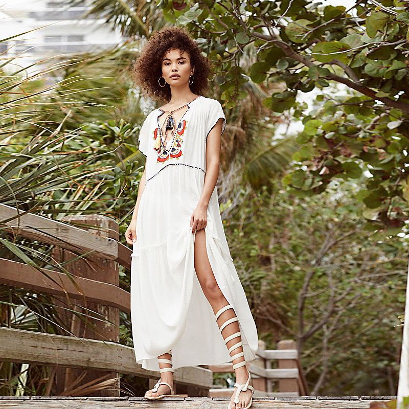 Embroidery Cotton Beach Cover up Tunic for Bathing suit Women Sarong Pareo Swim Dress