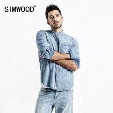 SIMWOOD חדש 2020 ג ינס חולצות גברים אופנה מותג 100% כותנה ארוך שרוול מזדמן גברים חולצות ג ינס חולצה זכר תחתונית homme 190070