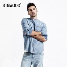 SIMWOOD New 2020 Denim Shirts Men Fashion Brand 100% Cotton Long Sleeve Casual Men Shirts Denim Shirt Male chemise homme 190070