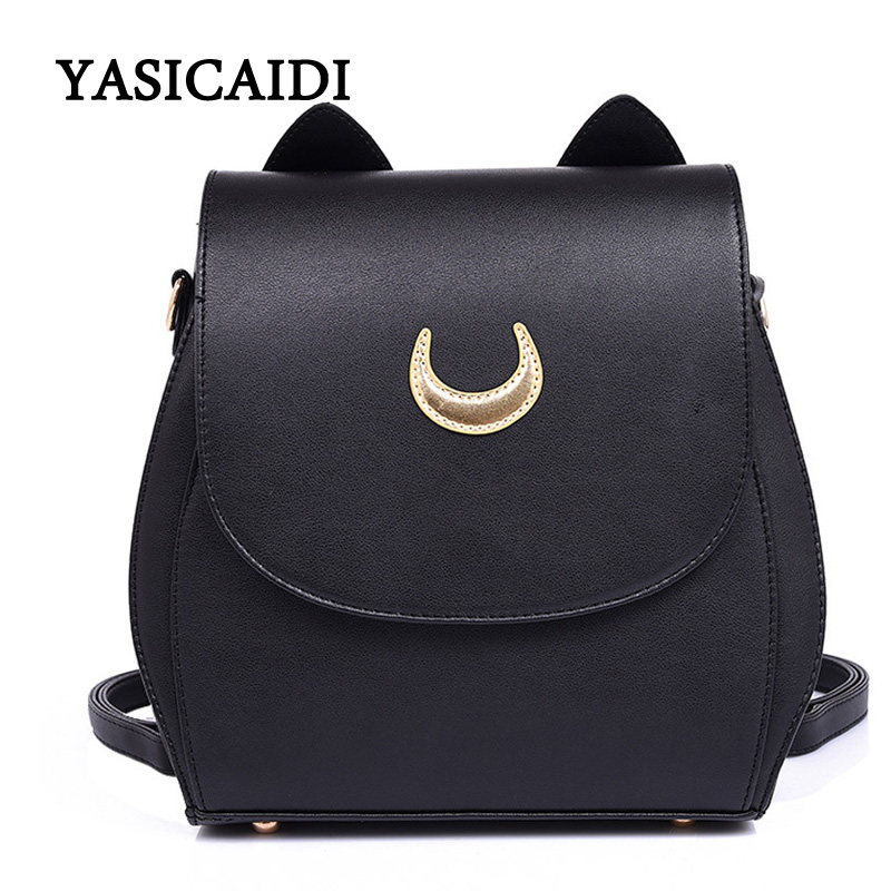 New Sailor Moon Black PU Leather Backpack Women Shoulder Rucksack 2016 School Bags for Teenage Girls Brand Sac A Dos Femme