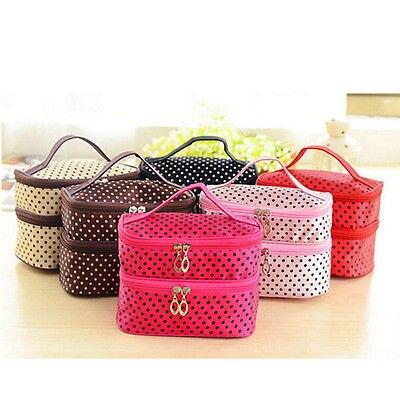 Women Multifunction Double desk Polka Dot Cosmetic Bag Makeup Case Pouch Toiletry Zip Organizer Travel polka dot