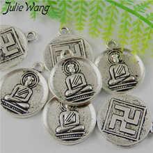 Julie Wang 15 Uds Buda redondo Swastika colgantes de aleación de plata antigua Vintage joyería collar colgantes encontrar DIY decoración para teléfono