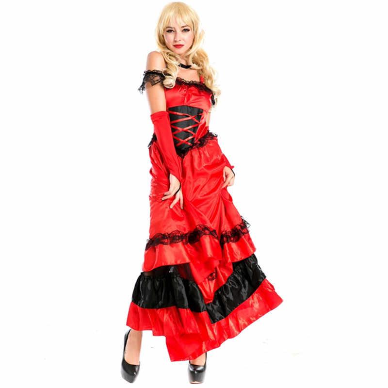 สไตล์ใหม่สเปน gypsy สีแดง cancan เต้นรำเครื่องแต่งกาย plus ขนาด showgirls ชุดเต้นรำปาร์ตี้สเปนร้อนเต้นรำแฟนซีชุดเครื่องแต่งกาย