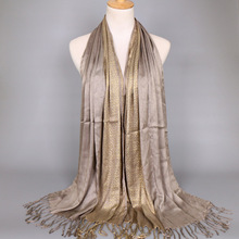 MSAISS Autumn Silk Ladies Bandana Shawl Muslim Women Gold Line Scarf
