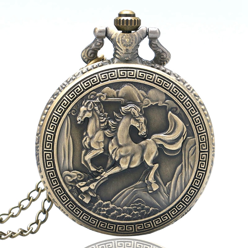Horse Theme Small Size Stainless Steel Round Men Women Quartz Pocket Watch Retro With Necklace Chain For Gifts Reloj De Bolsillo