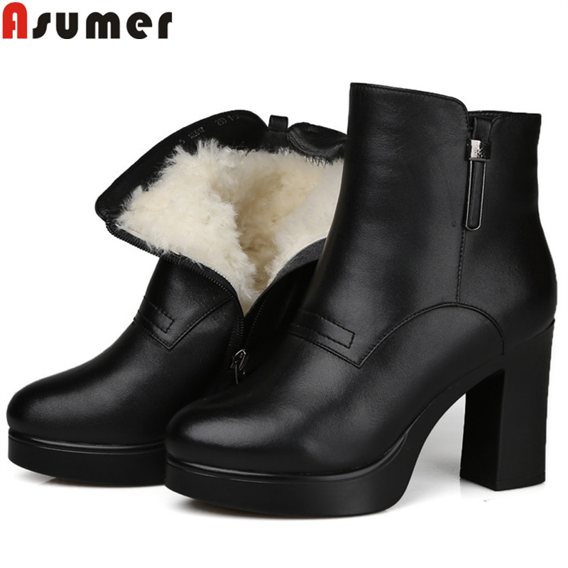 ASUMER fashion genuine leather boots round toe zip platform high heels ankle boots for women keep warm shearling  snow boots ASUMER fashion genuine leather boots round toe zip platform high heels ankle boots for women keep warm shearling  snow boots