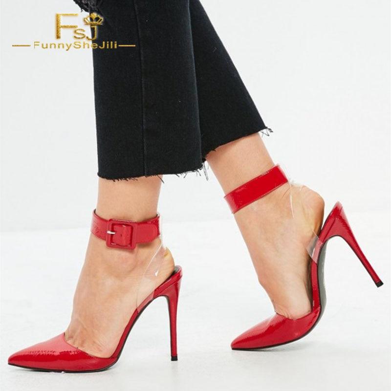 13 Fsj Talons Taille Bout Femmes Dames Automne Chaussures Plus Stiletto Clair 12 Pompes Fsj01 Rouge La Cheville Printemps Pointu Boucle 2108 Shoes11 zzrRTqw