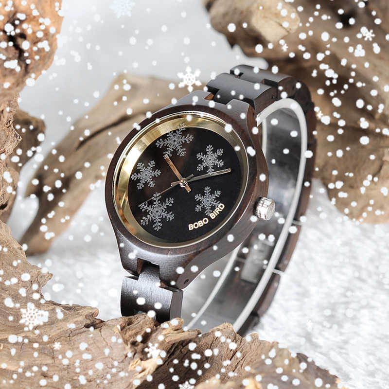 cf75e0562a0 BOBO BIRD P16-3 Simple Women Wooden Watches Vivid Snowflake Design Ladies  Quartz Wristwatch in