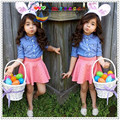 2016 Girls Summer Clothing Sets Dot Blue Shirt + Pink Skirt 2Pcs Outfits Kids Girl Clothes Suits Childrens Boutique Clothing