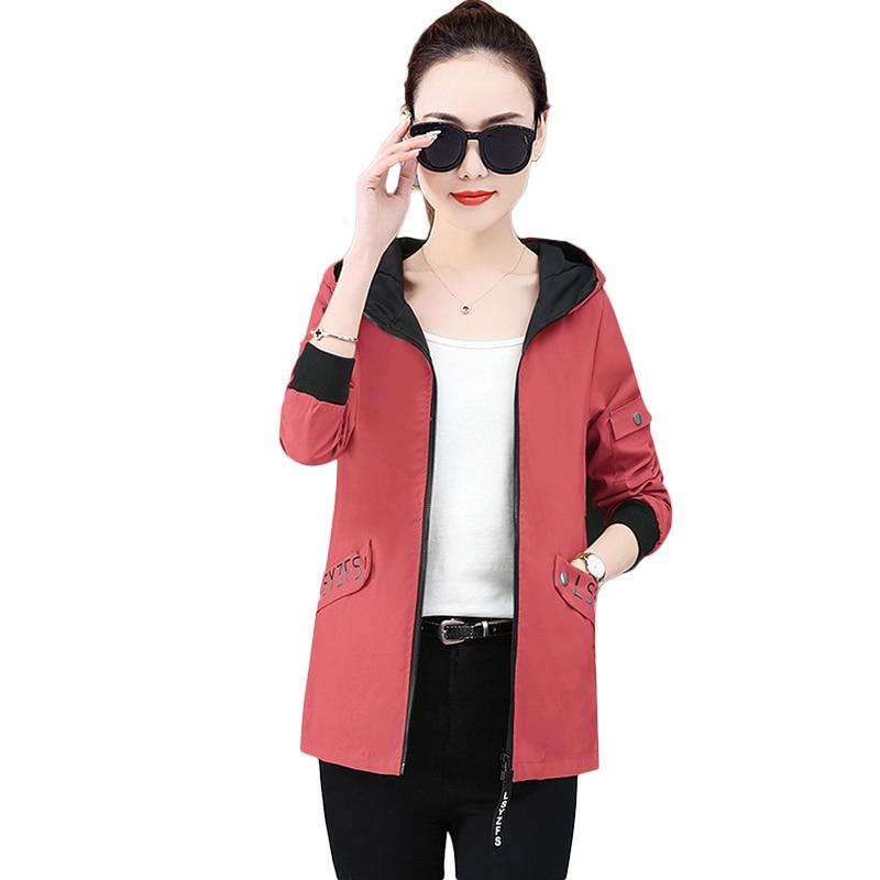 Plus size Women   Basic     Jackets   Female Zipper Pockets Casual Long Sleeves Coats Autumn Hooded   Jacket   Solid Windbreaker   Jacket