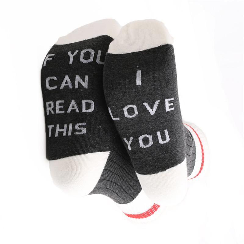 Funny Crew Cotton Socks If You Can Read This I Love You Men Women Socks Combed Cotton Crew Creative Gifts For Lovers