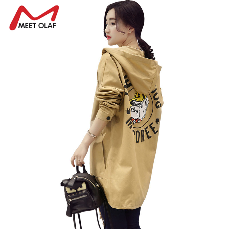 2017 Women Trench Coats Female Fashion Cartoon Print Winter Autumn Hood Coats Long Windbreaker Ladies Overcoat Plus Size Y1619