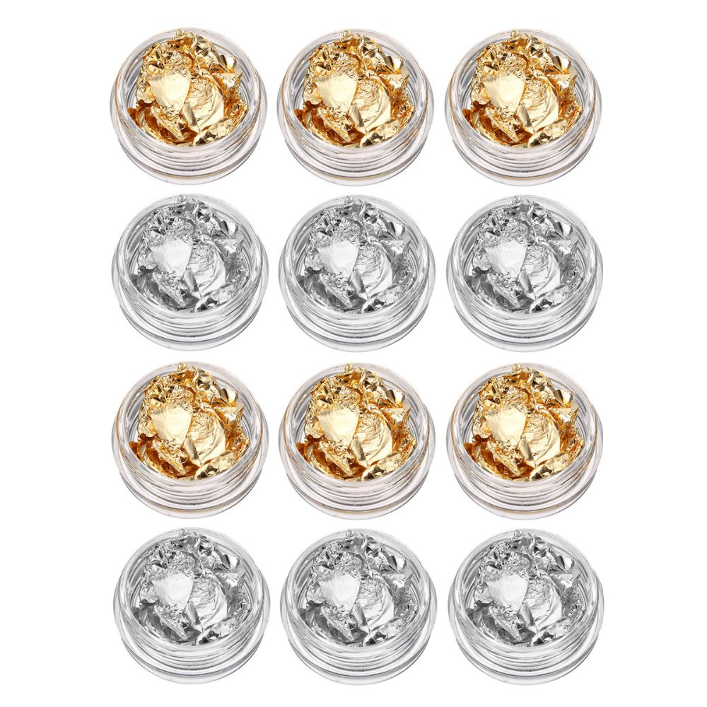 12 Pot Kit Nail Art Foil Paper Gold Silver Paillettes Flake Polish Gel Tips 3d Design Sticker Diy Beauty Decorations In Rhinestones From