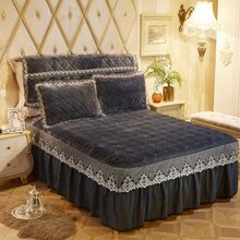 Warm Soft Flannel Fleece Quilted Bedspread set Ruffled Lace Bed skirt Twin Queen King size 3Pcs Bed Cover set with Pillow case(China)