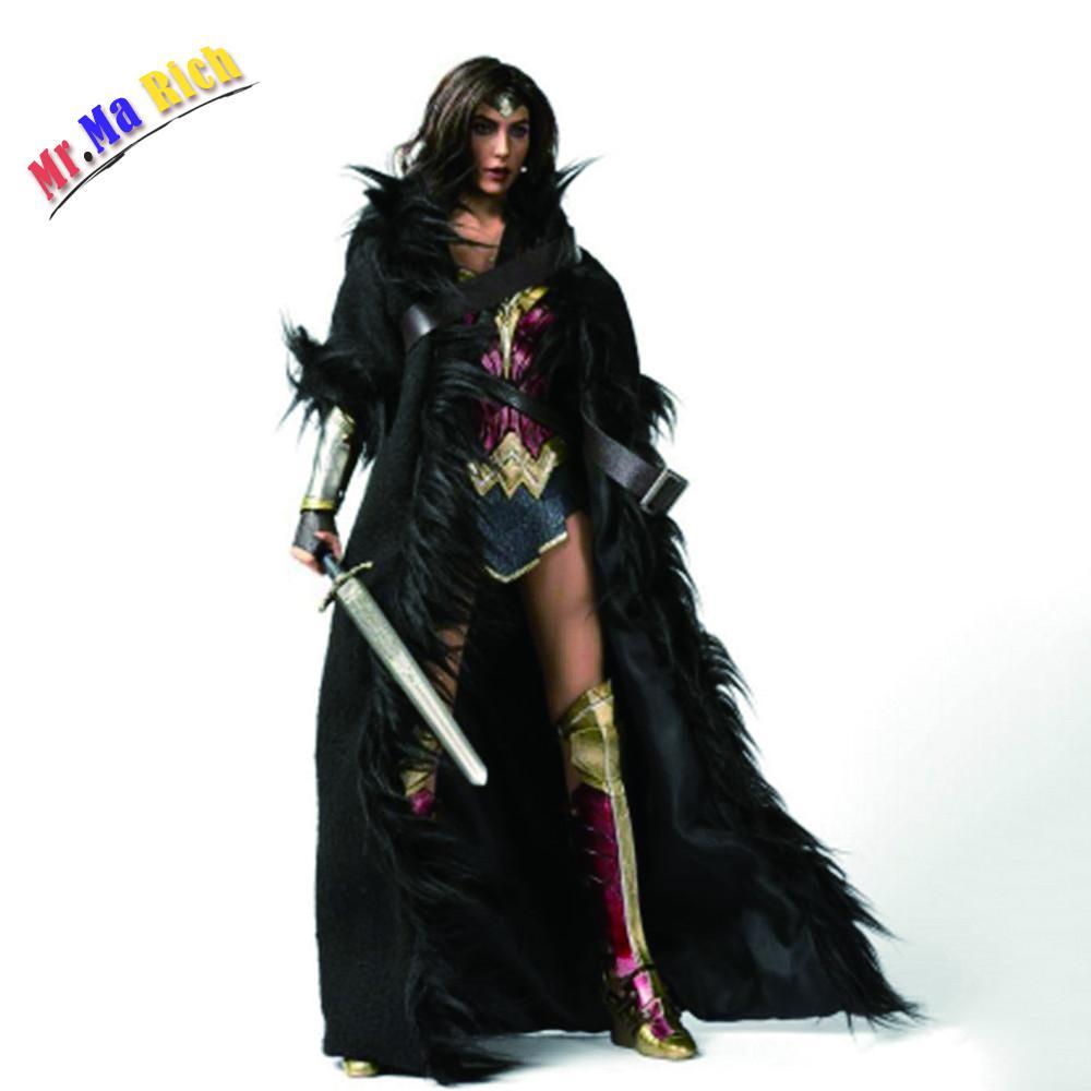 1:6หญิงเสื้อคลุมสีดำเข็มขัดชุดสาวน้อยมหัศจรรย์ยาวเสื้อเสื้อผ้าสำหรับ12นิ้วรูปการกระทำ
