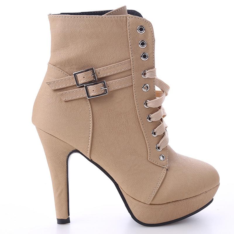 Plate Épais marron Size35 Beige Courtes noir forme 43 Bottes Femmes Chaussures Plus Sangle Haute Lace Boucle Up Talons Dames Cheville Talon qXZR4xqw