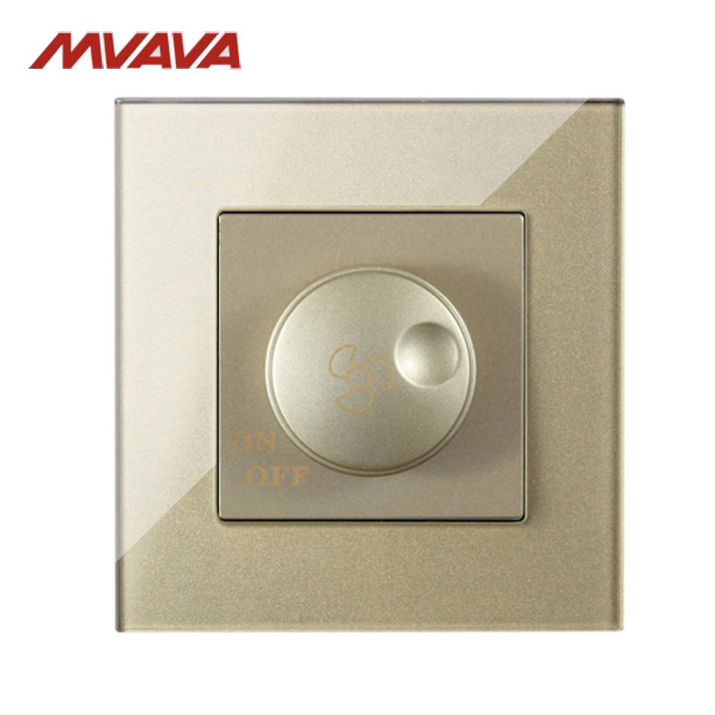 MVAVA Ceiling Fan Rotate Turn ON/OFF Wall Dimmer Switch Speed Control Luxury Gold Crystal Glass AC 110~250V Free Shipping fans chandelier 86 wall switch fan speed controller ceiling fan light power switch ac220v