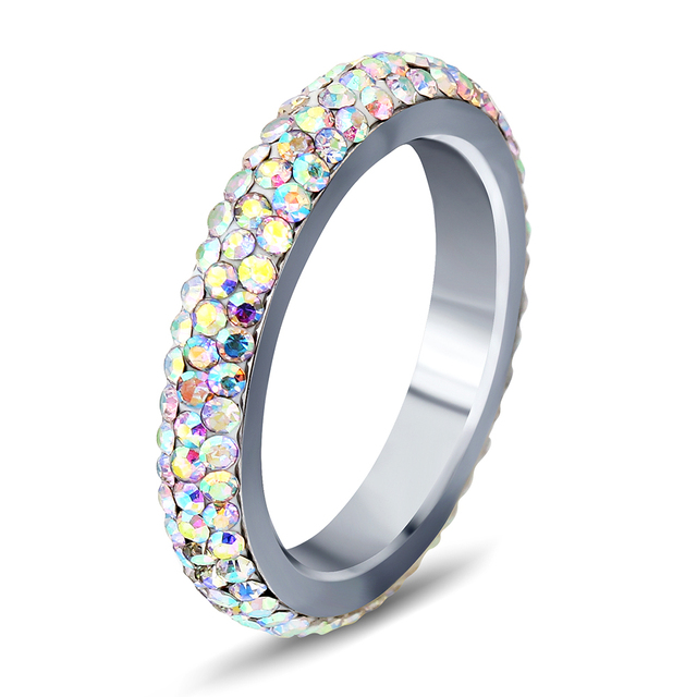 Niba Stainless Steeing Women Wedding Ring Ab Colored Pave Clear Zircon Jewelry