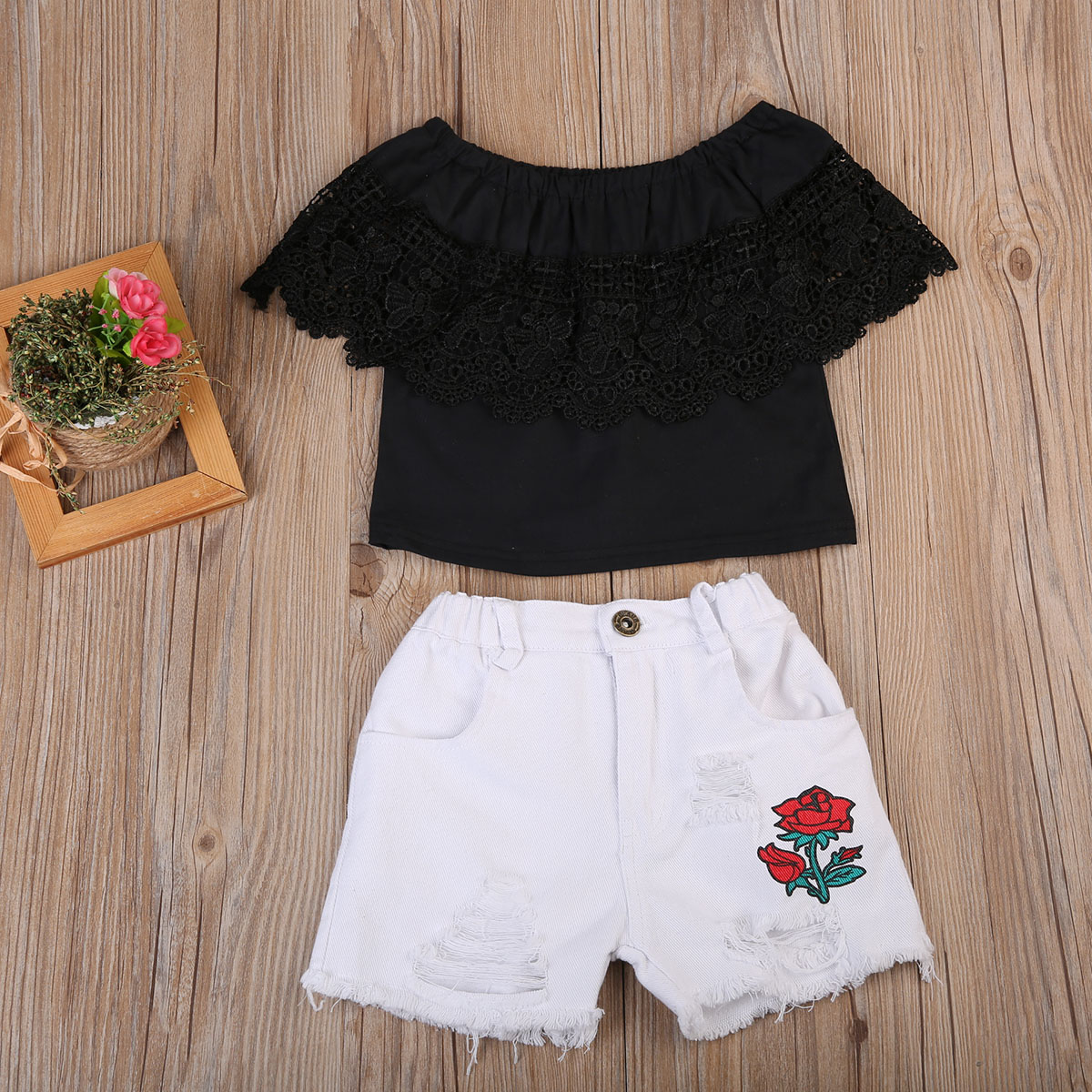 Summer Kids Baby Girls Off Shoulder Black Lace Tops+Ripped Denim Shorts 2pcs Outfits Clothes Set Embroidery Floral Clothing