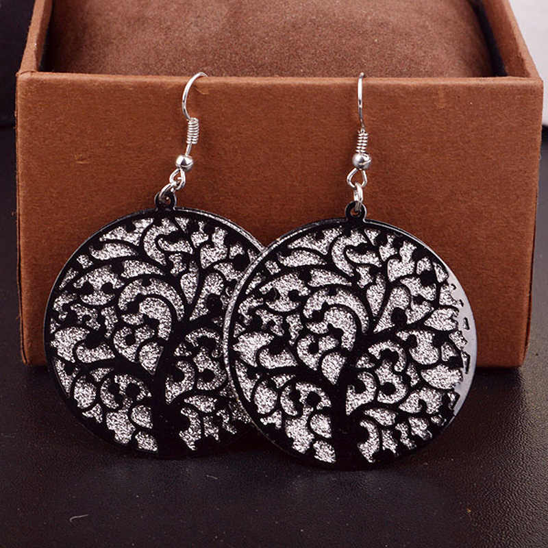 Fashion Jewelry Round Life Tree Hollow Out Scrub Earrings for Women long Earrings Designs Fine Jewelry