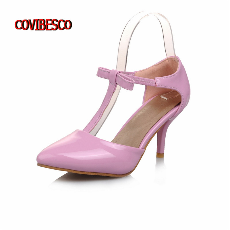 2016 Europe Y Stiletto High Heels Women Shoes T Strap Cute Bowtie Woman Wedding Party Pumps Black White Pink Purple