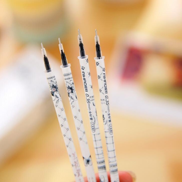 20 Pcs/Pack Elegant Orchid Pattern Gel Ink Refill Pen Replace School Office Supply Escolar Papelaria