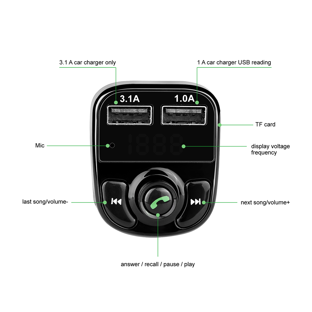 Dc 12 24v Car Kit Bluetooth Mp3 Player Hands Free Call Wireless Fm 5v Micro Usb Power Supply Lcd Screen Transmitter Modulator With 41a Dual Tf Slot Voltage In From Consumer