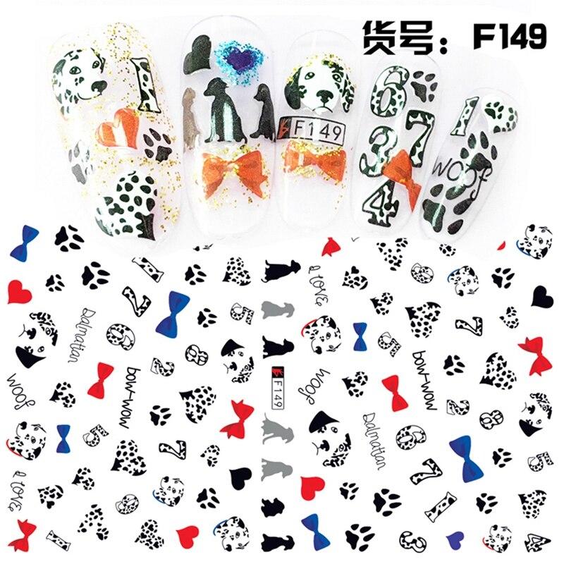 2 Sheets/lot 3D Cute Polka Dot Dog Number Adhesive Nail Art Stickers ...