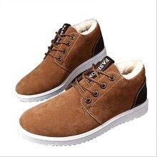 Brand Winter Boots Men Ankle Low-cot Plush Short Snow Fashion Lace-up Non-slip Plus Velvet Warm Out Door Casual Mens Shoes
