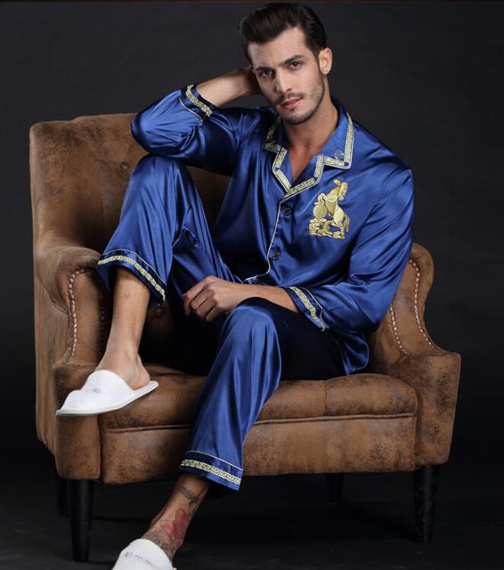 Los Hombres de la primavera ropa de Dormir Conjuntos de Pijamas de Seda de Imitación de Manga Completa bonito diseño Botón Casual Pijamas Azules regalo de los hombres de Color del Bule