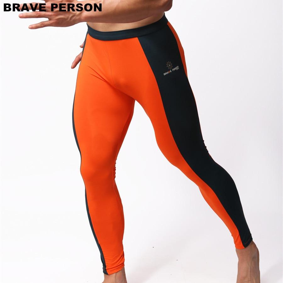 PESSOA CORAJOSA Moda masculina Calças Justas Leggings Calças Nylon Spandex Roupa Interior Calças Musculação Long Johns Homens Calças B1601