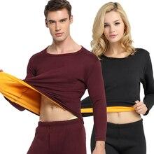 Thermal Underwear men Winter Women Long Johns sets fleece keep warm in cold weather size M to 4XL