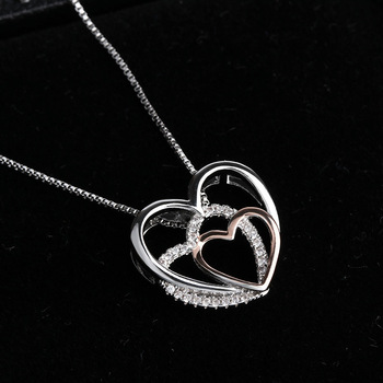 Beautiful Sterling silver three Hearts Necklaces  4