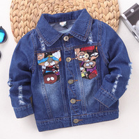 Boys Jean Jacket Kids Turn Down Collar Long Sleeve Cartoon Fashion Denim Blue Casual Coat Children