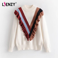 LIENZY 2018 Knitting Ruffles Patchwork Stripe Sweater Winter Women S Clothing Tunic Tops Pull Femme Hiver