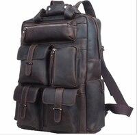 Crazy Horse Leather Men S Multi Pockets Shoulder Bag Genuine Leather Luggage Bag 14inch Laptop Backpack