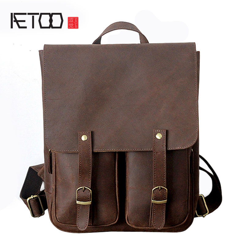 AETOO New leather men bag crazy horse skin men and women leisure travel bag Europe and the United States retro fashion b men hat europe and the united states fashion leather simple autumn and winter wild baseball cap out fashion hot sale