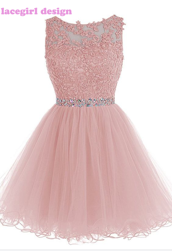 Puffy Blush Pink Rhinestone Beaded Lace Prom Dresses Short