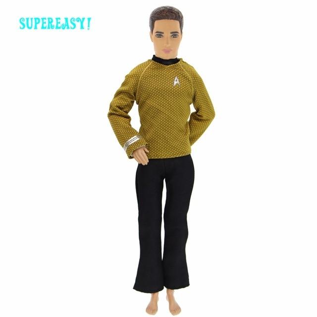 53c5b538b53 Mode Hommes de Tenue Quotidien Casual Wear Jaune Blouse Noir Pantalon  Pantalon Vêtements Pour Poupée Barbie