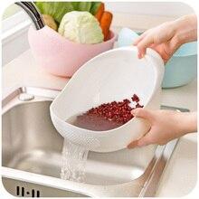 1pcsPlastic Clean Rice Machine Vegetables Basin Wash Rice Sieve Fruit Bowl  Fruit Basket The Kitchen Good