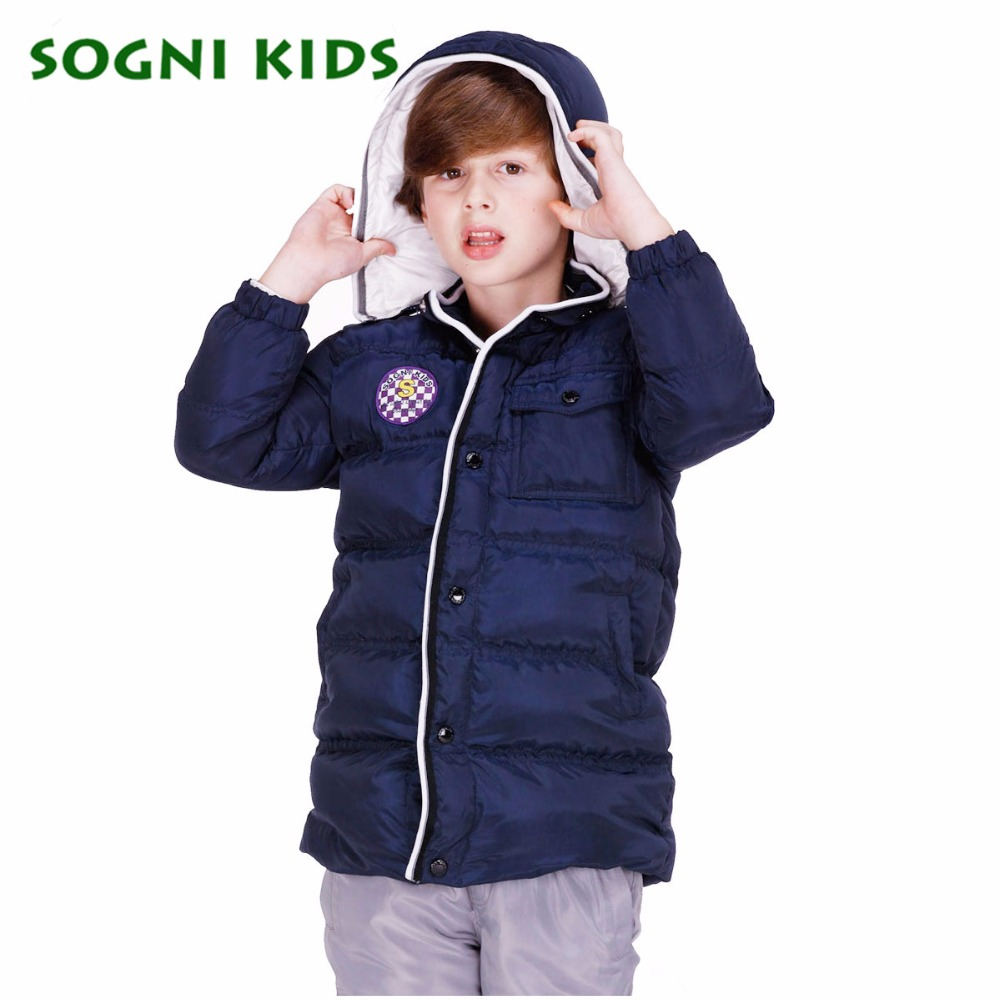 SOGNI KIDS High Quality Brand Kids Winter Jackets For Boys 90 White Duck Down Jacket Long