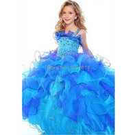 New Fairytale Blue Little Girls Flower Girl Dresses Pageant Spaghrtti Beading Organza Embroider Ball Gown Wedding