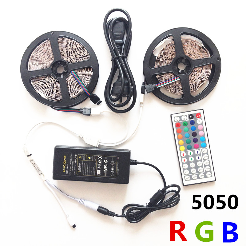 10M LED Strip Light 5050 RGB 600LED Juego de luces de tira flexible + - Iluminación LED