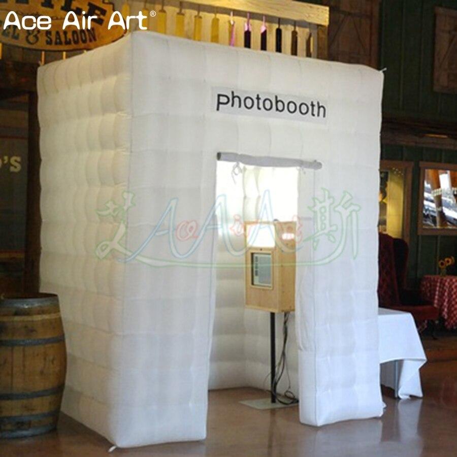 Cabine de photo gonflable blanche de tissu d'oxford, 2x2x2.75 m, toile de fond plus élevée de photo avec le rideau pour les etats-unis