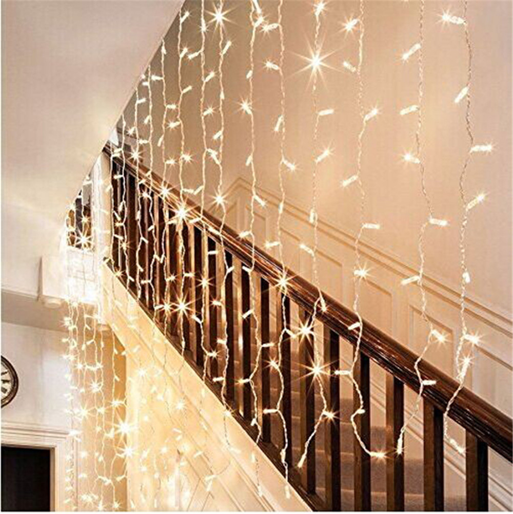 Indoor string lights wedding - Free Shipping Indoor Outdoor Waterproof 3 3m 300 Led Curtain Icicle String Light Wedding Christmas Holiday Window Home Lighting