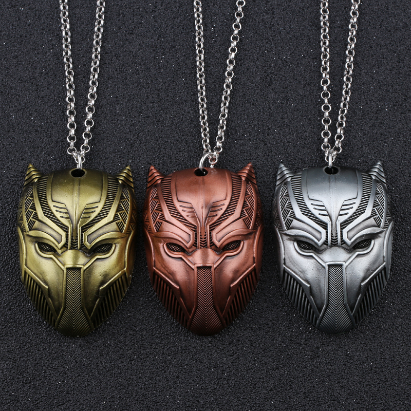 3 Colors Black Panther pendant necklace Move Jewelry For Men Boys Gift Superhero Figure anime wholesale For Woman Men Gift