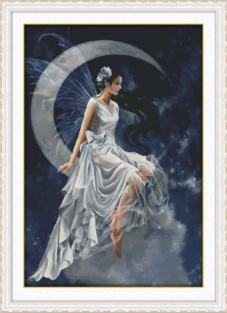 Grande taille la lune fée filles peinture compté point de croix Kits 14CT 11CT imprimé DMC croix couture broderie couture ensemble