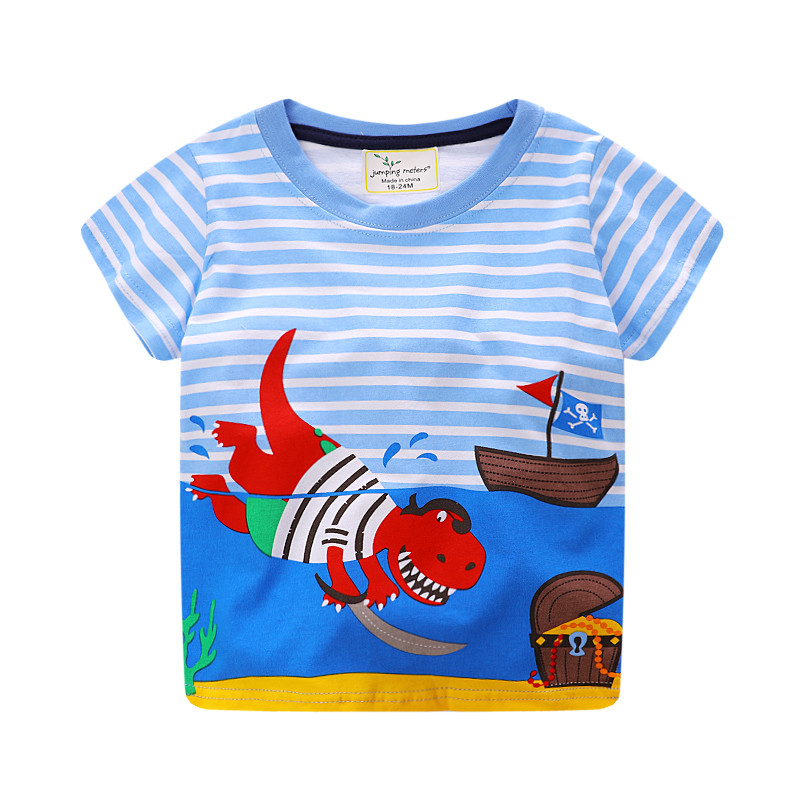 jumping meters new style baby boys summer t shirt kids short sleeve striped cartoon t shirt with printed a Dinosaur pirate casual striped short sleeve t shirt crop pants twinset for boys