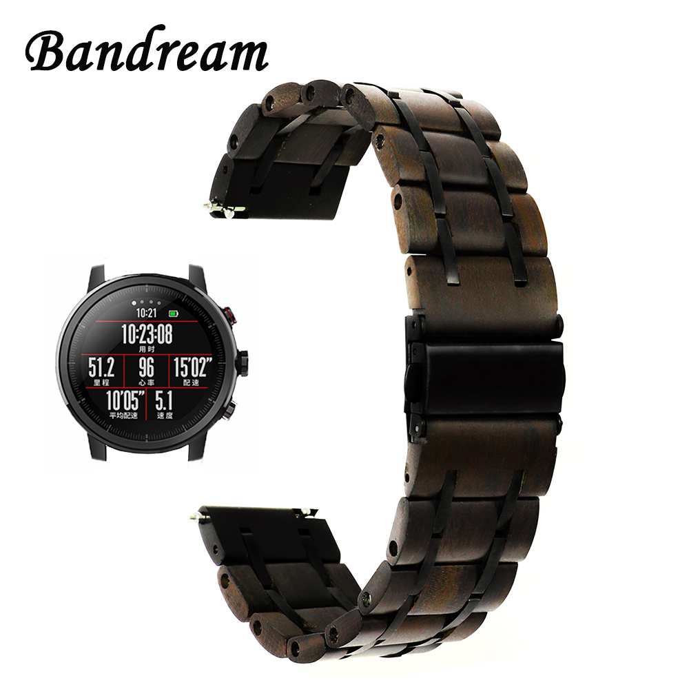 Genuine Wood + Stainless Steel Watchband 22mm for Xiaomi Huami Amazfit 1 2 2S Stratos Quick Release Band Watch Strap Wristband цена и фото